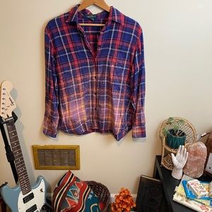 Upcycled Bleach Ombre Plaid Button Down